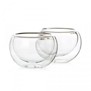 Bulles', set of 2 double wall glass tea bowls - 12,5 cl