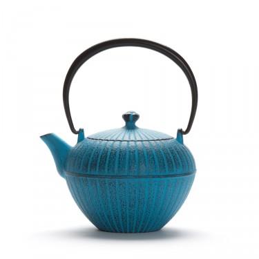 """Théière Fonte du Japon - """"Chakatake"""", théière bleue avec filtre"""