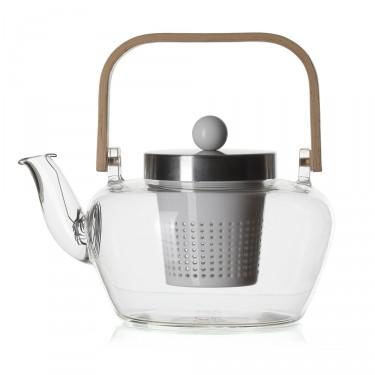 Glass teapot - MADRAS 1L - Porcelain filter - bamboo handle