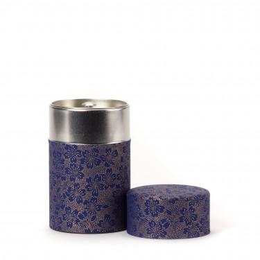 BLOOMING CHERRY, boîte à thé papier washi bleu 100G