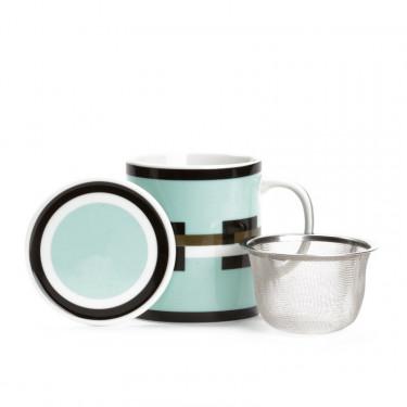 GRAPHIK  - MUG Vert d'eau avec filtre et couvercle